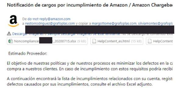 No conformidad de Amazon y disputas por falta de mercancía.