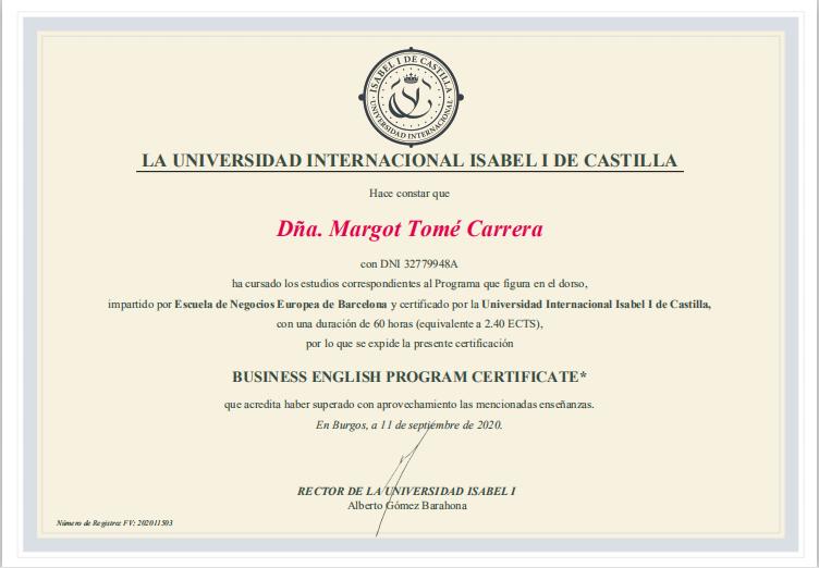 Titulo academico de Business English